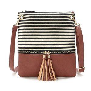 Stripe Tassel Bag 2019 Chegada Nova Tassel Bolsa Corpo Cruz Canvas Handbag Mulheres joint Praça listrado mini-fashion Tassel Bag