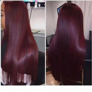 Brazilian Straight Ombre Hair 3 Bundles With Lace Closure Two Tone 1B 99 Colored Burgundy Lace Closure With Human Hair Weave Extensions
