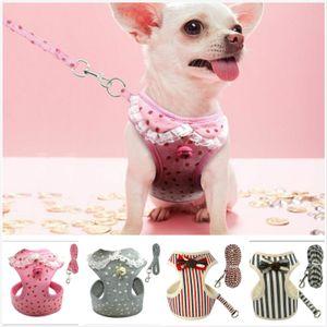 Guinzaglio per imbracatura per cani gatto in morbido tessuto di pizzo a maglia morbida per cani di piccola taglia