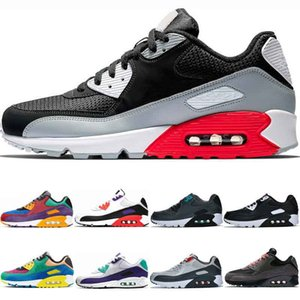 In magazzino 90 scarpe da tennis delle donne degli uomini Nero a infrarossi Scarpe da corsa classica Mixtape Uva Raptors grigio chiaro Trainer sport delle donne scarpe di misura 36-45