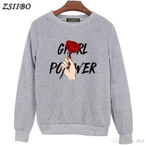 Sudaderas Girl Power Impresión Suéteres Harajuku Cuello redondo Sudaderas Ropa femenina Feminina Ropa suelta para mujeres Fall drop ship WY25