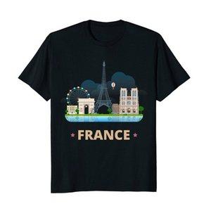 France Voyage Souvenir Tour Eiffel Notre Dame T-shirt à manches courtes col rond T-shirt Promotion Taille S-3XL