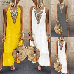 Sundress Donne Vestito Robe Femme ZANZEA Stampato sexy scollo a V Abiti senza maniche 2020 Split Beach Summer Party Dress Oversize