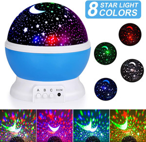 USB 360 Degree Rotation Lighting Master Romantic Night lamp Moon Star Projector 3d Led Night Light for Kids Baby Party Bedroom