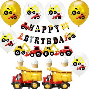 Tema balão de ar allons Acessórios Construção Escavadora Veículo Latex Globos bandeira Endurecimento Chapéu de Happy Birthday Party Decoration ...