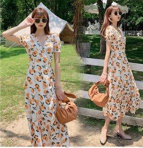 French niche temperament long V-neck slim floral one-piece balloon flower lace dress tea break skirt female summer