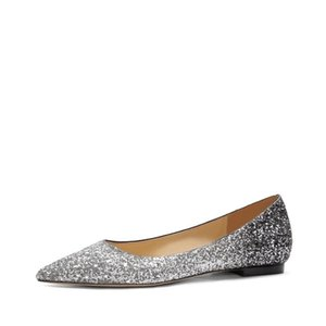 Crystal Woman Elegant Pointed Toe Strass Single Women Flat Bling Luxury Through Party Wedding Shoes