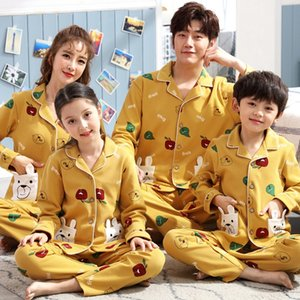 Autumn parent-child cardigan cotton long-sleeved family suit for three boys and pajamas pajamas girls season home clothes