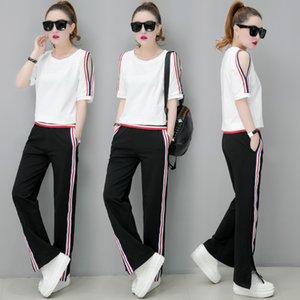 Combinaisons de survêtement blanc YICIYA pour femmes 2 pièces décolleté sur le haut de l'épaule et pantalons costumes été 2019 plus la taille coordonne ssportswear