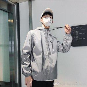 Hombres chaqueta reflectante 3M Diamond New York Brooklyn imprimir cartas con capucha flojo ocasional abrigos chaquetas rompevientos
