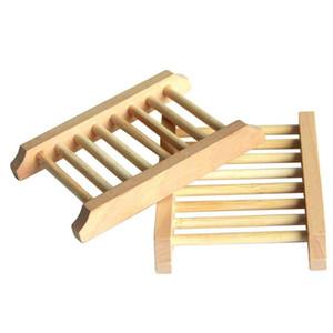 100шт натурального бамбук Деревянной мыльница Деревянной Мыльница держатель для хранения мыла стойки Plate Box Контейнер для ванной Душ Ванной WCW601