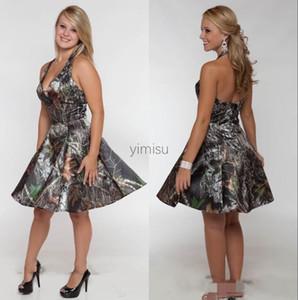 Camo Short Bridesmaid Dresses Halter Backless Country Garden Wedding Guest Party Gowns robes de demoiselle d'honneur