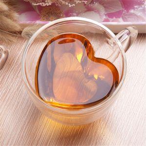 El amor del corazón en forma de jugo de doble pared taza de cristal a prueba de Kungfu té Taza de la leche limón Preferencia Copa Vaso amante de las tazas de café taza del regalo