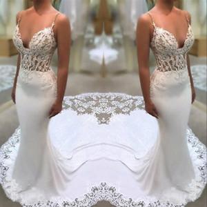 White Lace Appliques Abiti da sposa Guaina spaghetti straps Mermaid Illusion laterali Abiti da sposa con Corte dei treni