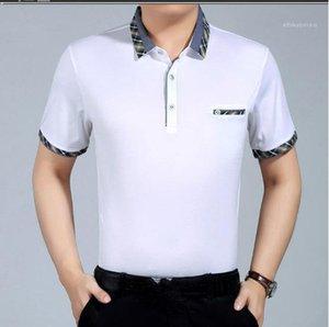 Aşağı Yaka Yaz Erkek Gömlek Plaid çevirin Düğme Slim ile Katı Renk Erkek Tasarımcı Gömlek İş Casual Kısa Kollu
