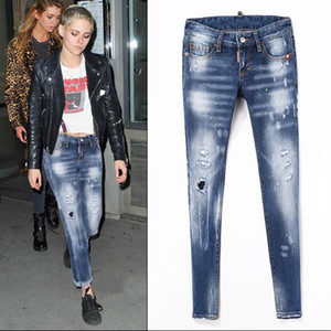 Новые джинсы тенденция личности шлифования отверстий патч ноги брюки женские Тонкий джинсы высокого качества одежда Мода брюки