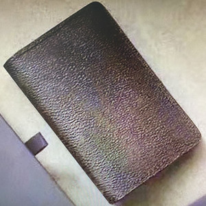 Titular N63143 bolsillo de la carpeta Los titulares de tarjetas Organizador de los monogramas de Damier de la lona del grafito compacto plegable de bolsillo corto Tarjeta de Crédito 63143