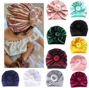Erkek bebek Kız Altın Kadife Çörek Çok renkli Termal Şapka Yenidoğan Yürüyor Çocuk Türban Bere Kap Şapkalar