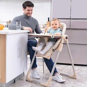 Baby leather folding PU multifunctional portable baby dining table and chair seat high feeding chair portable dining