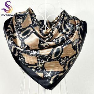 [BYSIFA] Snake Print Black Satin площади шарфов Платки 90 * 90см зимние женские шали шарфы палантины лето Кондиционер шаль