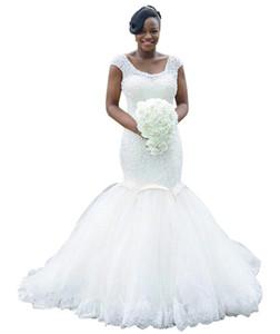 2019 Beaded Sequins Mermaid Wedding Dresses Scoop Neck Backless Lace up Trumpet Bridal Gowns Vestido de novia Plus Size African Wedding Gown