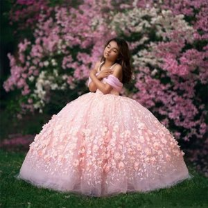 Impressionante Ombros 3D rosa Flora Meninas Pageant Vestidos de baile Off apliques Puffy longas miúdos criança Formal Dress Flower Girl Dress