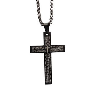 Hommes Européens et Américains Hip Hop Lettre Pendentif Jésus Croix En Acier Inoxydable Collier Bijoux Cadeau