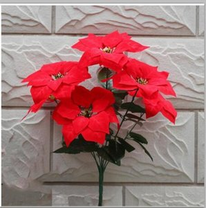 Display Flower Christmas Poinsettia Silk Decorative Flowers Christmas flowers high Quality 19 inches Holiday home decors Christmas supplies