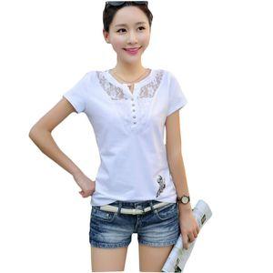 Kumeiya Sommer-T-Shirt Frauen-beiläufige Dame Top Tees Cotton White T-Shirt Female-Marken-Kleidung T-Shirt Spitze T Plus Size