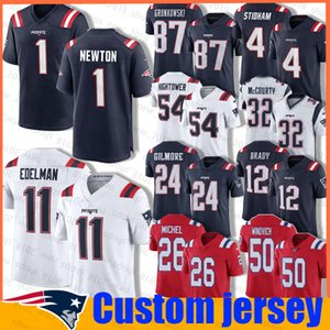1 Cam Newton 11 Julian Edelman Jersey Custom 4 Jarrett Stidham Futbol New EnglandPatriots 26 Sony Michel 14 Mohamed Sanu Sr. Brady