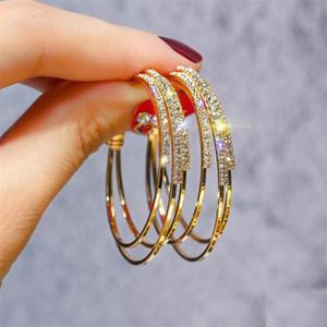 Hot Fashion Jewelry Korean Luxury Crystal Exaggerated Nightclub Earrings Big Hoop Metal Earring For Women Xmas Gift