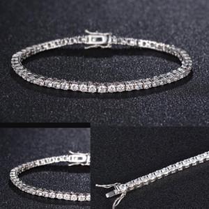 Zircon 4 mm Hommes Tennis Bracelet massif 925 chaînes de tennis en argent sterling Hip-hop Hommes Bracelets argent Tide 7,5 pouces Bijoux Cadeaux