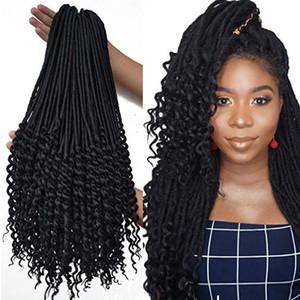6 Packungen 1B Göttin Faux Locs häkeln Haar häkeln Locs Curly endet mit handgefertigten Dread Lock Reggae Haarverlängerungen 20 Zoll 100g