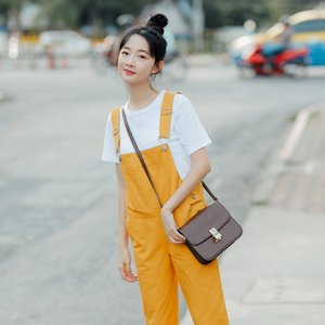 Di colore della caramella di autunno della molla donne complesso Coreano Moda Dolce solido del cotone femminili tute elegante allentato casuale Lady Harem Pants Y19051601