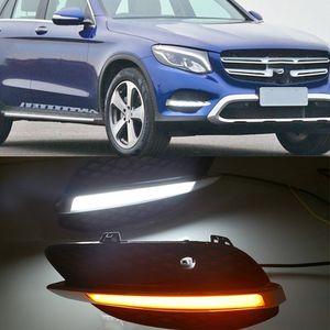 1 LED Par DRL Daytime Running sua vez sinal de luz da lâmpada amarela Luzes Daylight para Mercedes Benz GLC X205 2015 2016