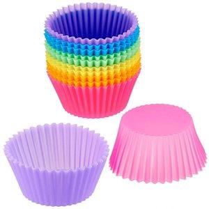 أساسيات قابلة لإعادة الاستخدام سيليكون أكواب الخبز الكعك كعكة العفن كب كيك نابض بالحياة سيليكون قوالب الكعك المتشددين أكواب خيارات ملونة