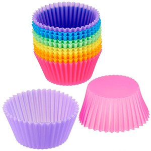 Basics Reutilizável Silicone Copos De Cozimento Muffin Bolo Mold Cupcake Vibrante Moldes De Silicone Muffin Liners Copos Opções Coloridas