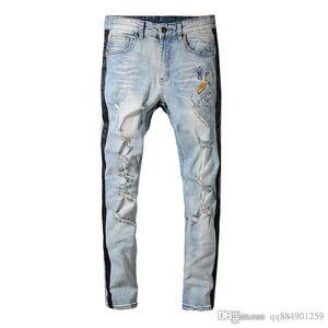 2019 Spring Korean Version Slim Jeans Male Striped Retro Shaved Embroidery Pants Distressed Ripped Biker Designer Jeans Hip Hop Size 28-40