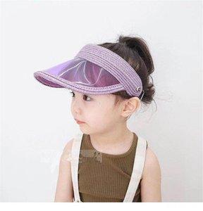 Baby Transparent Topless Kunststoff Sonnenschutz-Hut Lurex Straw Klar Schirmmütze für Kinder Sommer Outdoor-Sport-Strand-Hüte 2020
