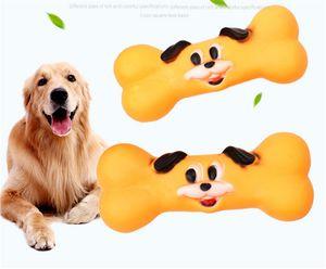 Pet Toy Dog Face Bone Durable Grinding Teeth Sound Vinyl Training Anti-morso Giocattolo Teddy Pet Supplies