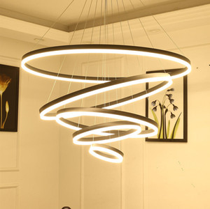 Moderne LED-Kronleuchter Licht für Gastronomie Wohnzimmer Ringe Luxus Luster Stunden Weiß Schwarz Pendelleuchte mit Fernbedienung