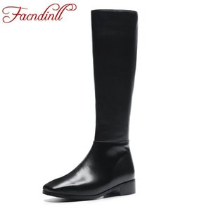 FACNDINLL new 2019 arrives genuine leather + microfiber knee high boots for women med square med heels black zipper long boots
