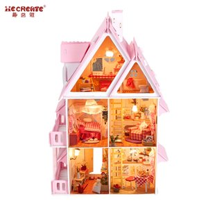 Big Size Three Layer DIY Doll House Large Wooden Doll Houses Miniature Dollhouse Furniture Kit Birthday Gift Toys for children Y200317
