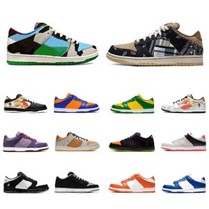 Stock X Nike air zoom SB DUNK Ben Jerrys X Chunky Dunky Dunk Low cut Mens sport designer sneakers Panda Pigeon Safari Raygun Tie-Dye Infrared Shadow red women men Casual shoes