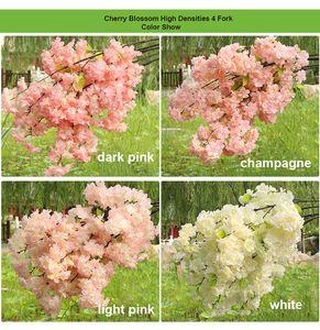 High Densities 4 6 fork Fake Cherry Blossom Flower Branch Begonia Sakura Tree Stem for Event Wedding Tree Deco Artificial Decorative Flower