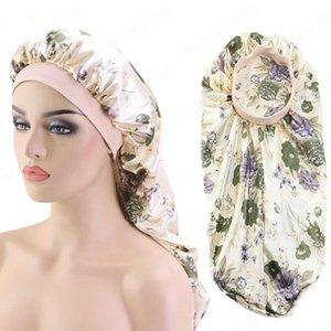 Cap sono longo de cetim de seda Bonnet Noite Hat extra Camada longo Duplo elástico para Mulheres Curly Tranças