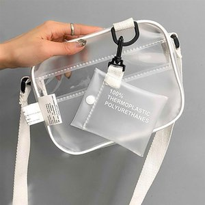 Casual PVC transparent ladies messenger bag one shoulder portable jelly small phone bag with clip, wide belt, flip cover