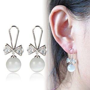 Personalized wild pearl women earrings tassel bow cat eye earrings wholesale 925 Needles rhinestone clothing accessories wedding earrings