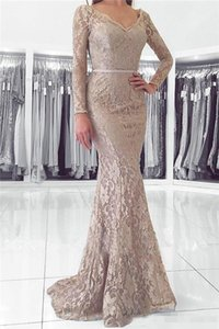 Modest Mermaid Full Lace Mother Formal Wear Long Sleeve V-Back Evening Party Gown Wedding Guest Dress Mother Of The Bride Dress Prom Dresses