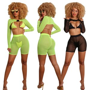 European and American women's explosive summer exclusive fashion wild perspective sexy and charming ladies swimsuit four-piece suit